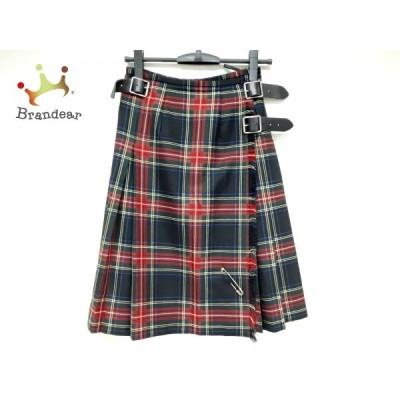 オニール O'NEIL 巻きスカート サイズ40 M レディース 美品 ネイビー×レッド×ダークグリーン 新着 20210123