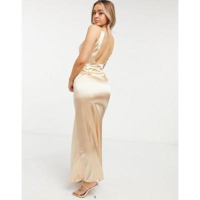 ティーエフエヌシー ミディドレス レディース TFNC Bridesmaid satin maxi dress with deep plunge back in champagne  エイソス ASOS sale