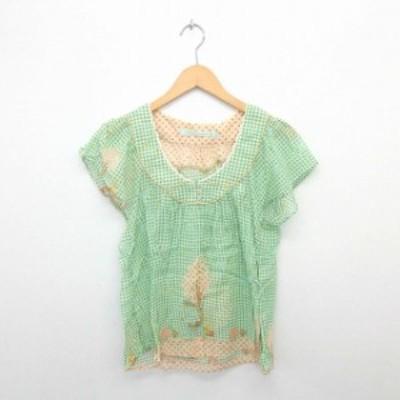 【中古】cherir la femme カットソー ブラウス プルオーバー チェック 透け感 綿 コットン 半袖 M 薄緑 グリーン
