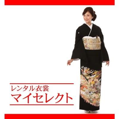 留袖レンタル 大きいサイズ mito_257 / N-209 徳川の美 G-83395 吉祥鶴の羽ばたき フリー 黒留袖