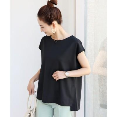 tシャツ Tシャツ きれいめポンチフレンチスリーブサイドスリットトップス Tシャツ