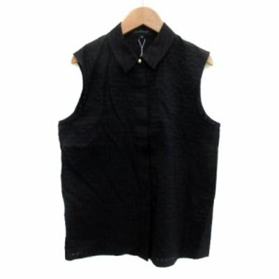 【中古】未使用品 ジルスチュアート JILL STUART シャツ ブラウス ノースリーブ チェック柄 M 黒 ブラック レディース