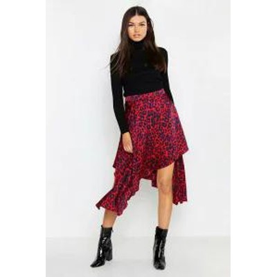 Boohoo レディーススカート Boohoo Satin Leopard Asymmetric Midaxi Skirt red