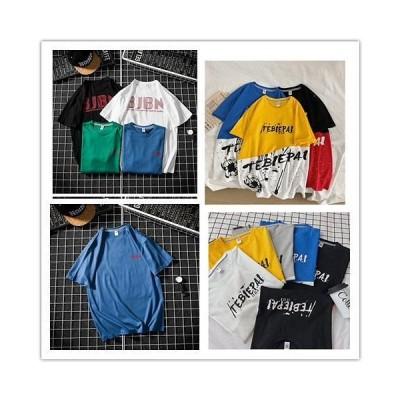 韓国大人気 デザイン 半袖 Tシャツ メンズ コットン ラウンドネック プリントINSスタイル 個性 ファッション トップス 夏 夏服 夏 Tシャツ 男女兼用 2020 ゆった
