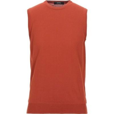 アルファス テューディオ ALPHA STUDIO メンズ ベスト・ジレ トップス Sleeveless Sweater Rust