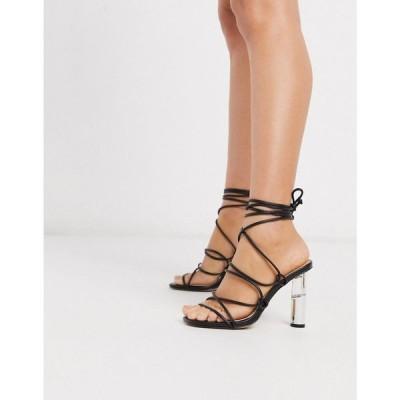 トリュフコレクション Truffle Collection レディース サンダル・ミュール シューズ・靴 tie leg heeled sandals with clear heel in black ブラック
