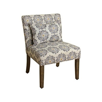 HomePop Parker Accent Chair with Pillow, Gray Medallion 141[並行輸入]