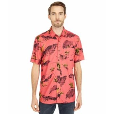 ボルコム メンズ シャツ トップス Floral Erupter Short Sleeve Button-Up Lava Rock Red