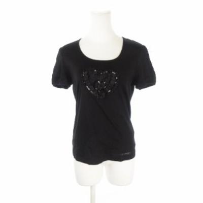 【中古】トゥービーシック TO BE CHIC カットソー Tシャツ ラウンドネック 半袖 ハート ビーズ ll 黒 ブラック