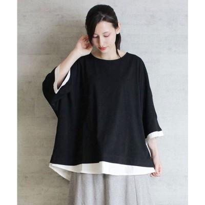 アットワン atONE ゆるっと異素材レイヤードTシャツ (BLACK)