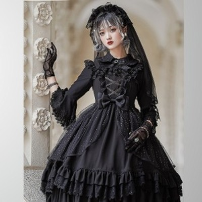 ゴスロリ系 ドレス ワンピ 編み上げ フリル リボン 清楚 ゴージャス 病みかわいい 甘い ロリィタ 薔薇少女 オルチャン 原宿系 10代 20代