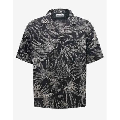 イヴ サンローラン Saint Laurent メンズ 半袖シャツ ボタニカル柄 トップス Dotted Leaf Print Short Sleeve Shirt Black