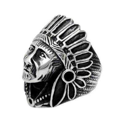 チタン鋼のメンズインディアンチーフヘッド設計バイカーリングサイズ7