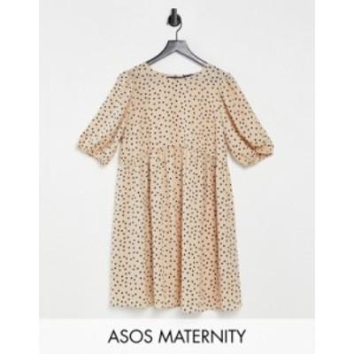 エイソス レディース ワンピース トップス ASOS DESIGN Maternity short sleeve smock mini dress in spot Nude spot