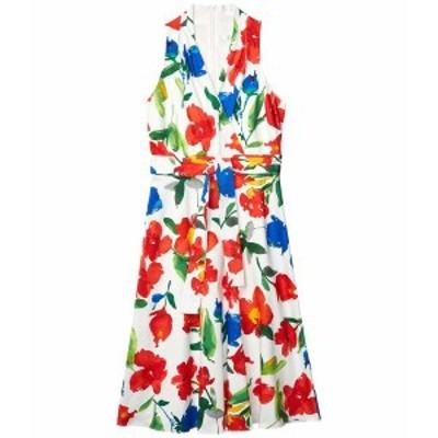 ロンドンタイムス レディース ワンピース トップス Halter Wrap Floral Midi Dress Soft White/Red