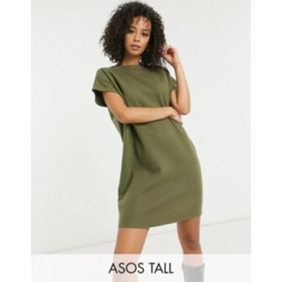 エイソス レディース ワンピース トップス ASOS DESIGN Tall super soft t-shirt dress in dark green Dark green