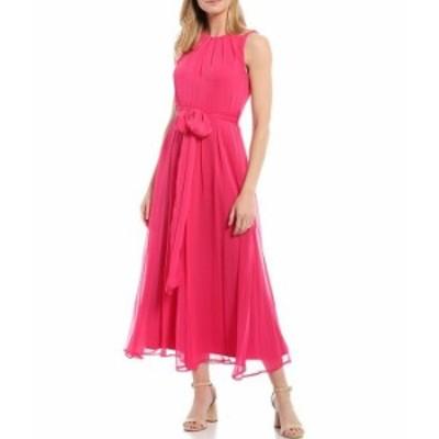 カルバンクライン レディース ワンピース トップス Sleeveless Chiffon Tie Waist Dress Hibiscus