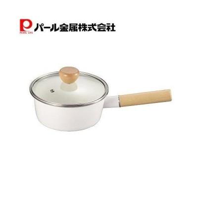 アミィ ホーロー ガラス蓋 片手鍋 16cm ホワイト HB-801 パール金属