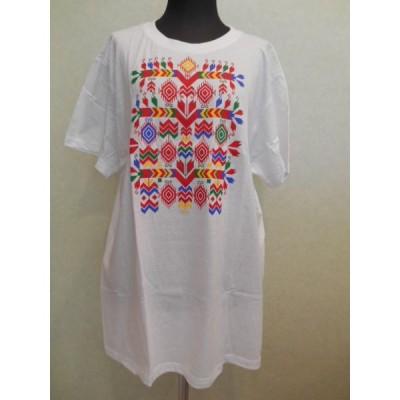 ブルガリア 刺繍 モチーフ プリント Tシャツ <6> 090