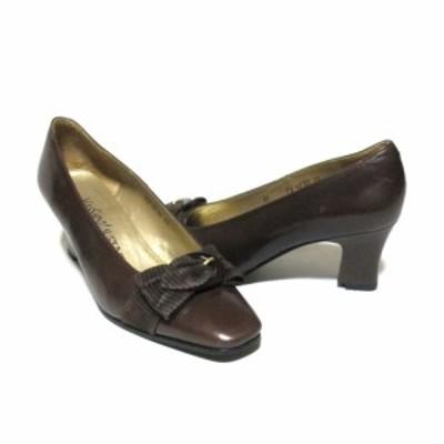 Vintage Yves Saint Laurent イヴサンローラン「35」リボンヒールレザーパンプス (ブラウン 靴 シューズ) 126614 【中古】