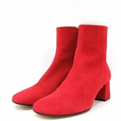 【中古】マリサレイ MARISA REY ブーツ ショート チャンキーヒール スエード 37 24cm 赤 レッド /AK2 レディース