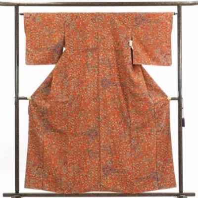 【中古】リサイクル着物 小紋 / 正絹赤茶レンガ地袷小紋着物 / レディース【裄Mサイズ】
