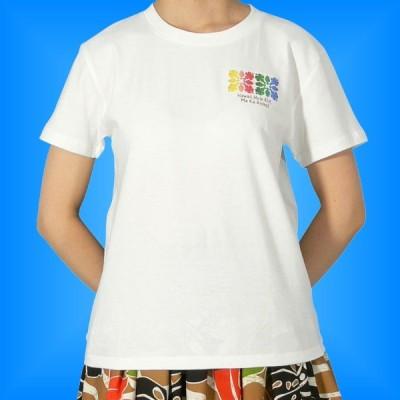 フラダンス Tシャツ L レインボー・キルト ホワイト 481lw