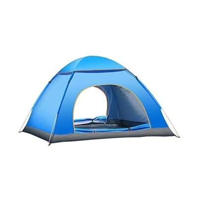 テント クレセント3-4人用 テント アウトドア 軽量 設計 防風防水 設営簡単 通気 防災用 キャンプ 登山 海 開放テント (ブルー 4人)