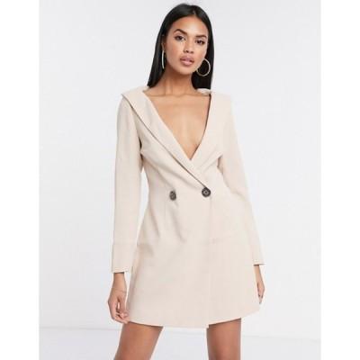 ミスガイデッド レディース ワンピース トップス Missguided Peace + Love off shoulder embellished blazer dress in stone