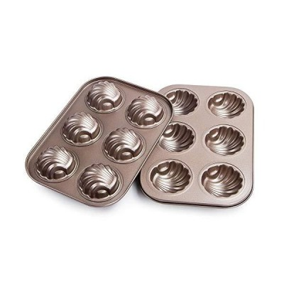 Webake 焦げ付き防止マドレーン型 カーボンスチール ケーキパン フレンチデザート型 球面スカロップ マドレーヌ 耐熱皿 2パックセット