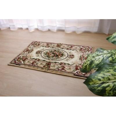 ウクライナ製 ウィルトン織り 玄関マット ミリオット ベージュ 約60×90cm(代引不可)【送料無料】