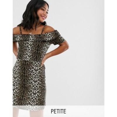 ヴェロモーダ Vero Moda Petite レディース ワンピース ワンピース・ドレス leopard print bardot dress ブラック