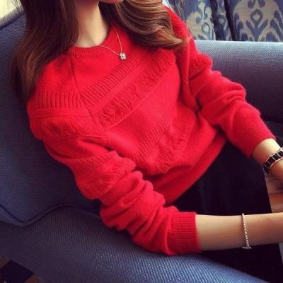 ニットセーター レディース 40代 秋冬 ニットソー 裏起毛 長袖 ニットセーター 暖かい 大きいサイズ ニットソー 韓国風 トップス 裏起毛 カットソー 着痩せ 5色