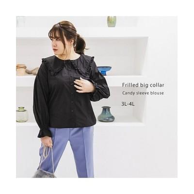 【クレット(大きいサイズ)】 フリルビッグ襟キャンディースリーブブラウス レディース ブラック 3L clette