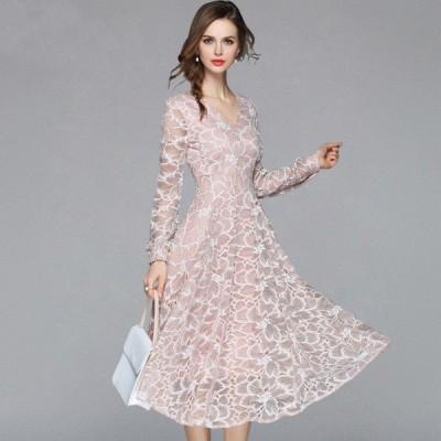 袖あり ドレス パーティードレス ミディアムドレス レース Vネック 長袖 ミディアム丈 Aライン 大きいサイズ レトロ オードリー