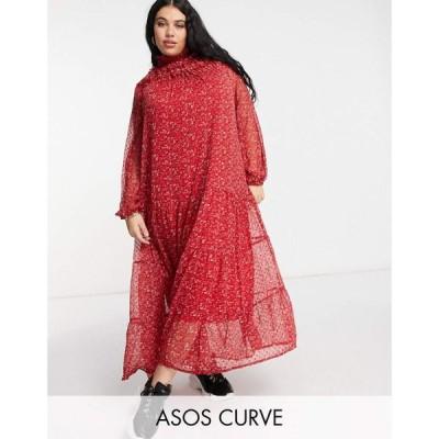 エイソス ASOS Curve レディース ワンピース ワンピース・ドレス Asos Design Curve Shirred Neck Swing Maxi Smock Dress In Floral Printed Dobby