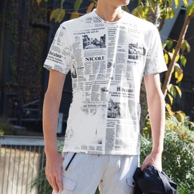 ハイダウェイ HIDEAWAYS ニュースペーパープリントTシャツ (91その他2)