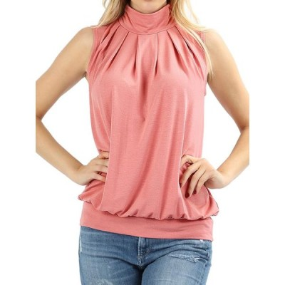 レディース 衣類 トップス Women & Plus Sleeveless Mock-TurtleNeck Pleated Top with Waistband (Rose Pink S) ブラウス&シャツ