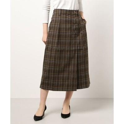 スカート 先染めチェック前釦セミタイトラップ風スカート