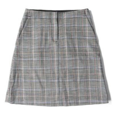 Theory セオリー スカート ウール グレンチェック 台形スカート ブラック×ホワイト×ブラウン×ブルー 00 【レディース】【中古】【K258