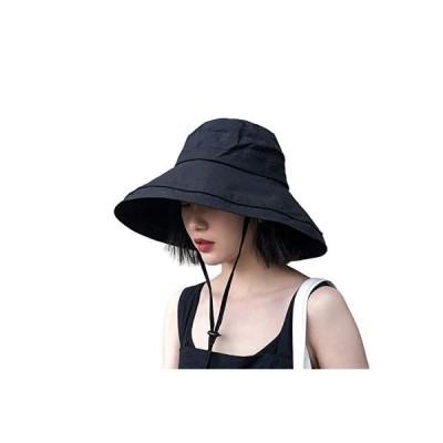 UVカット帽子 つば広 小顔効果 マジックテープ調節 あご紐 風で飛ばない 紫外線カット レディースハット 大き