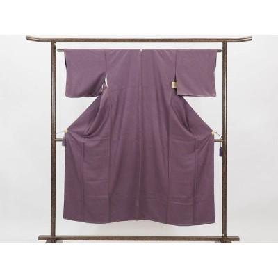 リサイクル着物 色無地 正絹紫地一つ紋付袷色無地未着用品