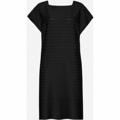 イッセイ ミヤケ ISSEY MIYAKE レディース ワンピース ミニ丈 ワンピース・ドレス Woody Ripple stretch-woven mini dress BLACK