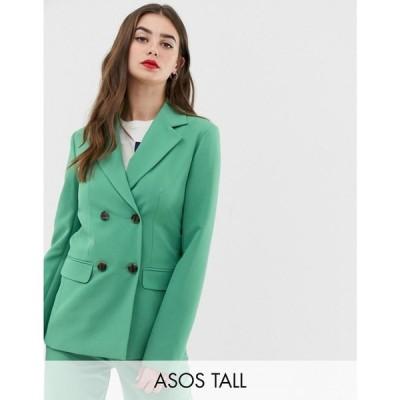 エイソス ASOS Tall レディース スーツ・ジャケット アウター ASOS DESIGN Tall double breasted suit blazer in sage Sage