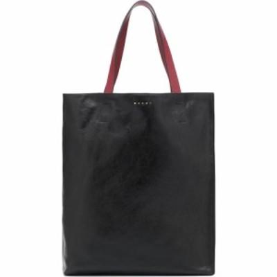 マルニ Marni レディース トートバッグ バッグ Museo Large leather tote Black/Mercury/Burgundy