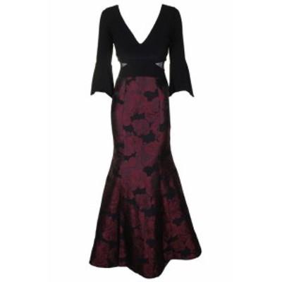 Red  ファッション ドレス Xscape Black Red Mesh Inset Bell-Sleeve Brocade Mermaid Gown 4