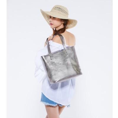 本革バッグ トートバッグ  3点セット メタリック 5色展開 レディース クリアバッグとポーチ付き 上質牛革 A4サイズ  おしゃれ 大人女子