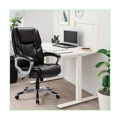 Vktech Bonded Leather Office Chair - Adjustable Built-in Lumbar Support and Tilt Angle High Back, Executive Computer Desk Chair for Office W