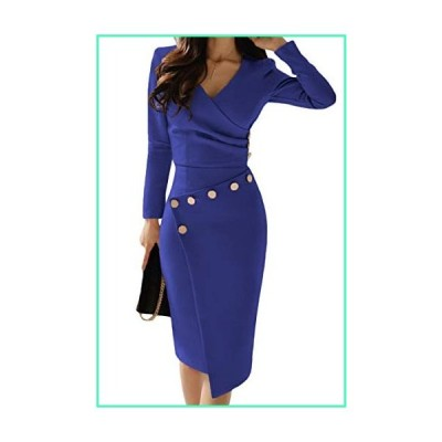 Happy Saield Women V Neck Button Formal Wear to Work Dresses Ruched Office Dress Blue並行輸入品