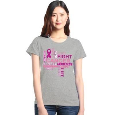 レディース 衣類 トップス Shop4Ever Women's Breast Cancer Support Fight Ribbon Awareness Graphic T-Shirt グラフィックティー